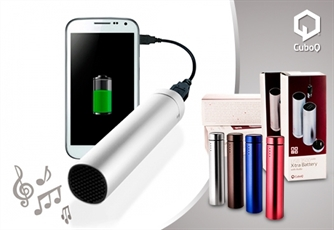 POWER BANK CuboQ com Coluna Integrada e Alta Voz. Compatível com iPhone, iPod, iPod Touch, Smartphones Android, PSP, MP3, MP4, etc.