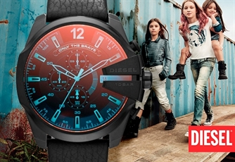 Relógio DIESEL® | Modelo: Mega Chief Black Leather. Autentico e inesquecível!