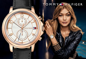 Relógio TOMMY HILFIGER® (Modelo: Rose Gold and Black Leather). De design único e sofisticado!