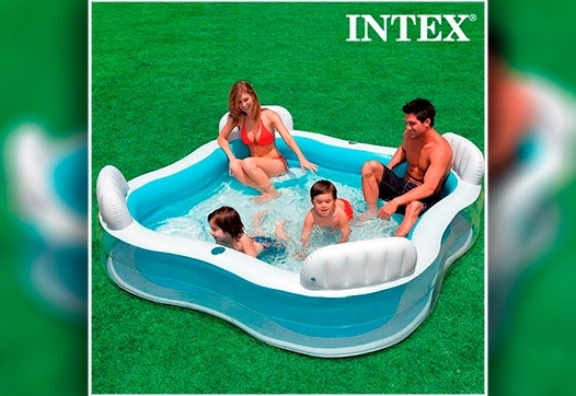 Piscina insufl vel familiar intex com 4 assentos apoio for Alberca familiar intex